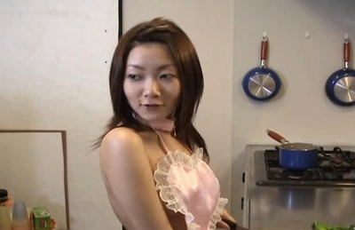Cute milf Miku Masaki gets stuffed with vegetables on Asian anal porn