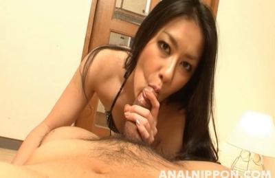 Hot Asian girl Kyoka Ishiguro dominates her loveer on Asian anal porn
