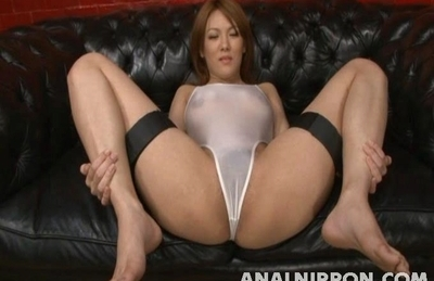 Beautiful AV model Rei gets her pussy and anal inserted enjoys facial